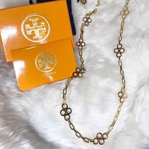 Tory Burch Large clover necklace gold new